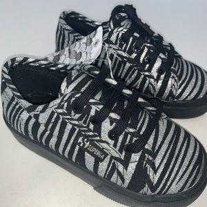 Superga Bambino Zebra Print Black Silver Sneaker